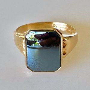 Stately Edwardian 18k Mens Hematite Ring 5g